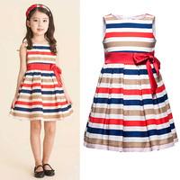 Children's Girls Summer Bowknot New Colorful Dress Lovely Baby Girls Sundress, Free Shipping GD072