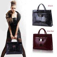 Women PU Leather Handbag Luxury OL Lady Crocodile Pattern Hobo Tote Shoulder Bag Black & Red 5/B271#S5