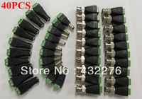 Free Shipping 40pcs CAT5 to BNC Coaxial Video Balun plus 2.1mm Male Female DC Power Connector