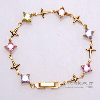 Shiny 24K Gold Plated Cross Rhombus CZ Multi Colors Stone Bracelet Women Gold Bracelet Bangle Accessories Fashion Jewelry 2014