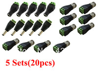 Free Shipping 5 Sets CAT5 to BNC Coaxial Video Balun plus 2.1mm Male Female DC Power Connector