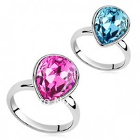 2013 Fashion Crystal jewelry charm water drop ring for women Christmas & Birthday gifts Free shipping