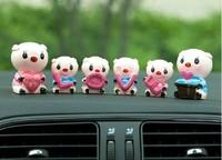 New automotive family LOVE pig doll car ornaments personalized ornaments cute doll car accessories 6 pcs/lot