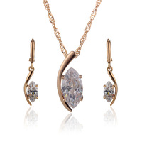 18k Gold Plated Moon Shape African Jewelry Sets For Women Bijoux Pendant Necklace CZ Crystal Earrings Fashion Jewellery 4S18K-48