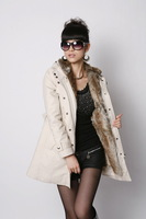 Free Shipping 2013 Hot Sale Cotton And Artificial Wool Liner Middle-long Plus Size Winter Coat Women Y001