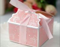 2014 Hot Sale Free Shipping Wholesale 50pcs Pink Full Moon Baby Candy Boxes Creative Small Bear Wedding Favors Gift Box