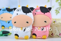 New arrivral hot sale wholesale mobile phone cover silicon shell protect cover lovely cow  phone4 4s phone5 free shipping