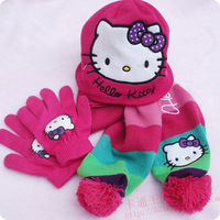 NEW HOT SELLING scarf hat gloves children's cartoon girl knitted with wool ball 3 piece suit