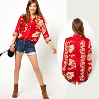 New Fashion Turn-down Collar Red Color National style Printing Long Sleeve Women Chiffon Blouses Shirt Tops for women #1076
