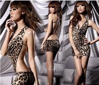 Women's sexy underwear leopard print one piece miniskirt sexy set