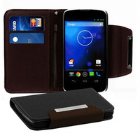 HK Post Free shipping + For LG E960 Nexus 4 leather wallet fashion case stand cover with card holder