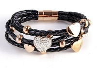 1pc can send high-quality Men's Womens  Leather charm titanium Stainless Steel Clasp Bracelet -510