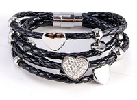 high-quality Men's and Women's  Leather charm titanium Stainless Steel Clasp Bracelet  with cz heart-can mix order