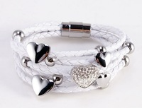 1pc can send  high-quality Men's Womens  Leather charm titanium Stainless Steel Clasp Bracelet -512