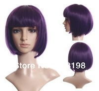 Short Straight Shiny BOB Cut Heat-resistant Sexy Wig - Purple