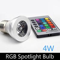 3W LED spotlight E27 RGB remote control dimmable led bulb lamp for home decoration, free shipping, 4pcs/lot