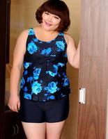 Fat girls big super large plus size 4xl,5xl,6xl,7xl swimming boxers type swimsuits female split 2pieces sets swimwear for women