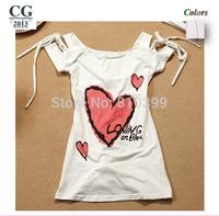 2014 Fashion Women's Heart Print Hollow-Out Back Short Sleeve Sexy T-Shirt Tops Tees T Shirt Freeshipping#TS044