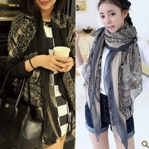 Free Shipping lady shawl 2013 new hot korean lucky fawns printed Voile Scarf cotton super long scarf for women