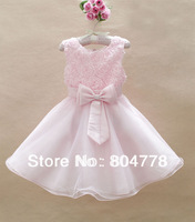 baby girls evening dress rose flower big bowknot flower girl's dress luxury children  wedding dress 5pcs/lot