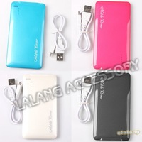 1pc/lot Portable 5000mAh Micro-USB Power ultra-thin External Battery Pack For Cellphone 4 Candy Colors 11.7*6.1*1.1cm 750360