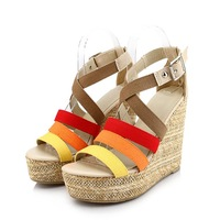 2013 spring and summer new arrival color block decoration platform wedges sandals vintage high-heeled platform shoes platform
