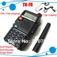 DHL Free shipping free +free headset Kendio tk-f8 thf8 tkf8 dual display dual standby VHF cb radio set 5Watts radio frequency