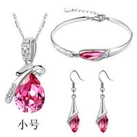 Crazy  price! Vintage Women Silver Crystal  Jewelry three  pieces set  nacklace+bracelet+earringsA44+B45+E06