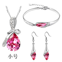 Crazy  price! Vintage Women Silver Crystal  Jewelry three  pieces set  nacklace+bracelet+earringsA44+B45+E06