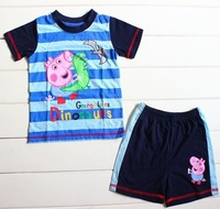 Free shipping boy boys short sleeve t shirt top + short shorts pants pyjamas pajamas sleepwear sleepsuit Pjs 5pcs/lot