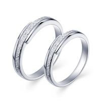 Valentine's Day 2014 Lovers Rings 1Pairs Top quality 925 Sterling Silver Platinum Plated Lovers' rings Wedding Jewelry J034S