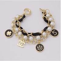 TOP Quality  Muti -Layers Muti-Elements Four LEAVES and C CBranded Bracelets Wholesale Three Colors Free Shipping