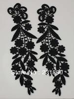 10 Sets Fabric Mirror Black Venise Lace Flower Motif Sewing Applique Craft