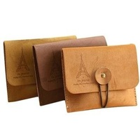 3368 retro romantic tower suede leather purse / key coin purse / wallet free shipping nostalgia