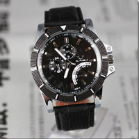 Hot 2013 luxury branded sport Leather Gentle Man Mens Casual Fashion Calendar Week Quartz Wristwatches free shipping