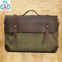 Retro canvas + leather briefcase designer handbags leisure men's and women's real leather messenger bag men's bags D10033
