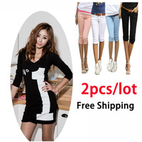 Wholesale Women Clothings,2pcs/Lot, No.1 Printed V-Neck cotton Dress+Slim elastic Cotton Capris short Pants,Free Shipping LJS001
