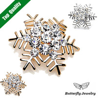 Christmas Gifts Wholesale Nice Snowflake Brooch Crystal 18K Gold Silver Color Edelweiss Pins Brooches Women Corsage