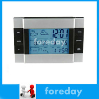 Original Wireless Weather Station RF Indoor/outdoor Temperature Clock Thermometer with with Blue backlight  for HomeGarden*FD027