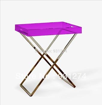 Free Shipping Acrylic tray table/foldable acrylic table with tray/ tray table/side table/living room furniture/acrylic furniture