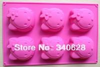 Factory Wholesale 10 pcs   Hello Kitty shape Silicone  cake mold Tools Baking Pan Tray Mak B029