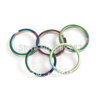 5pcs Tiremet Titanium Ti Rainbow Color Flashlight Keychain Buckle Keyring Daily EDC Split Key Ring Size S