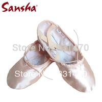 Free shipping Sansha ballet shoes professional satin soft dance shoes split sole NO.3S many size available