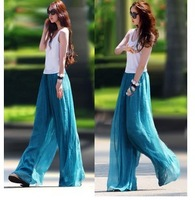 Freeshipping 2014 women long maxi loose culottes trousers Print Dresses chiffon culotte wide leg long slim pants Casual Dress