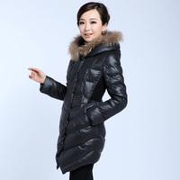 2014 female down coat outerwear slim medium-long thickening raccoon fur down coat wadded jacket