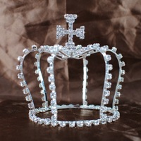 MINI CROSS Style Tiaras Austrian Rhinestones Crystal Full Hair Crown Party Gifts Bridal Wedding Jewelry Fashion Accessories
