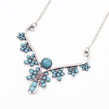 C-406 2013 innovative design elegant ethnic style metal flower blue rhinestone necklace beads connected