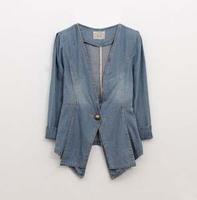 2013 High Street European Vintage Jeans Women One Button Slim Denim Suits Women Fashion Jeans Jackets And Blazers