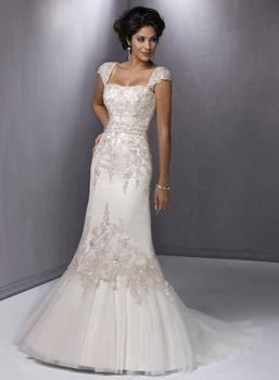 Vestido De Noiva 2015 Elegant Applique Beads Cap Sleeve With Strapless Mermaid Wedding Dress Bridal Gown For Casamento