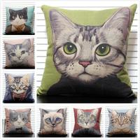 Beautiful Cartoon Cat 10 different designs Linen Cotton Cushion Covers Monopoly 1pcs 45 *45cm Wholesale Free Shipping